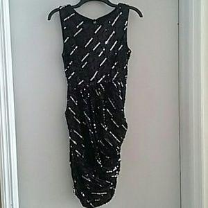 Alice + Olivia Black & Silver Sequin Sheath Dress